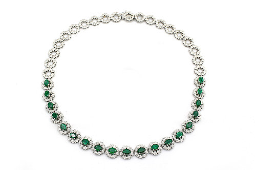 White Gold with Diamonds and Emerald Necklace