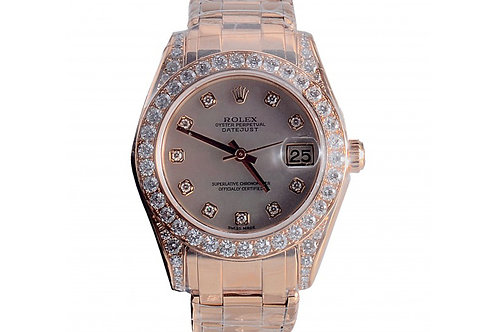 Rolex Datejust Mother of Pearl Diamond Dial 34mm Yellow Gold & Diamonds