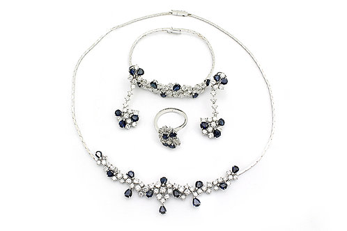 White Gold with Diamonds and Sapphire Full Set