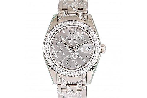 Rolex Datejust Pearlmaster Mother of Pearl Diamond Dial 34mm White Gold & Diamon