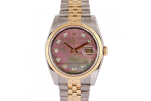 Rolex Datejust Black Mother of Pearl Diamond Dial 36mm Steel & Yellow Gold
