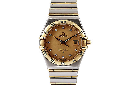 Omega Constellation Steel and Gold Diamond Champagne Dial Lady