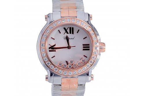 Chopard Happy Sport 7 Diamonds White Mother of Pearl Diamond Dial 36mm Steel & R