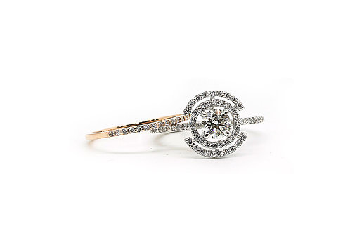 White & Rose Gold Twin Solitaire Diamond Ring