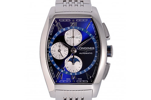 Longines Evidenza Moonphase XL Chronograph Blue Dial 40.6mm Steel