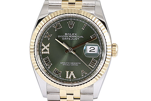Rolex Datejust 36mm Steel & Yellow Gold Green Roman Numeral Dial