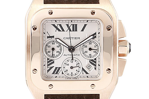 Cartier Santos 100XL Chronograph Rose Gold with Brown Leather Strap