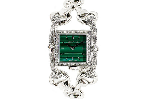 Gucci Signoria White Gold with Diamond Bezel and Green Dial 35mm