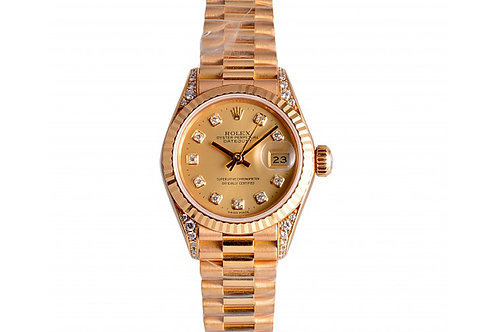 Rolex Datejust Champagne With Diamond Dial 26mm Yellow Gold & Diamonds