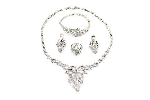 Flower Design White Gold and Diamond Full Set