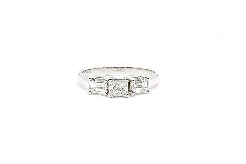 Emerald and Princess Cut Diamond Ring