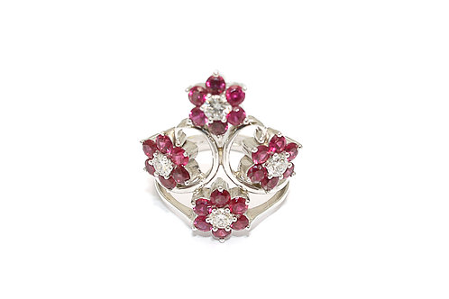 Flower Designed Ruby and Diamond Ring