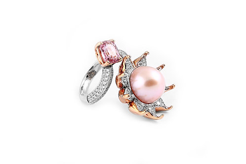 Spinel, Pearl and Diamond Ring
