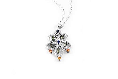 Sapphire, Colour Stones and Diamond Pendant