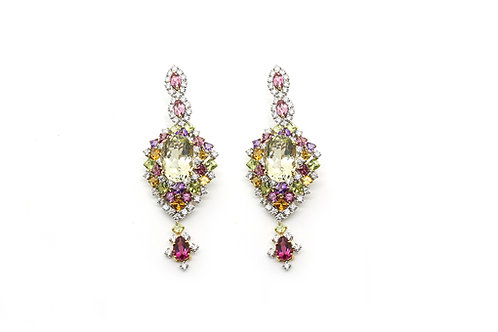 Gold with Diamonds and Color Stones Designer Earrings