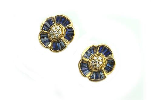 Baguette Cut Sapphire and Diamond Earrings
