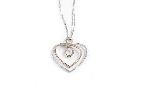 2 Tone Gold Diamond Heart Pendant