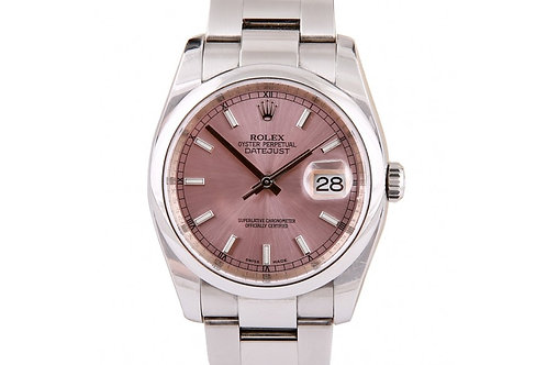Rolex Datejust Pink Dial 36mm Steel