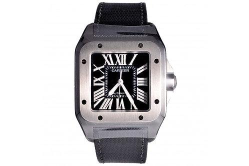 Cartier Santos 100 Black Roman Dial 42.6mm PVD Steel
