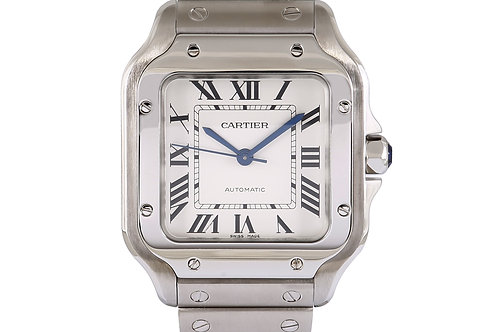 Cartier Santos De Mid Size Silver Dial Steel with Extra Leather Strap 35mm