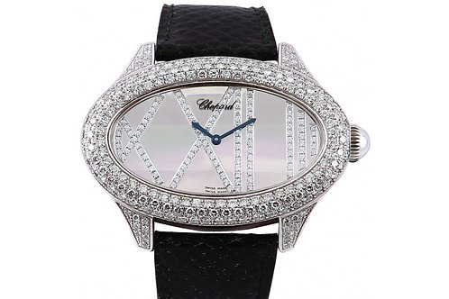 Chopard Oval Mother of Pearl Diamond Dial 45.5mm White Gold & Diamonds