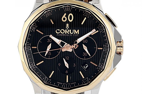 Corum Admiral's Cup Legend Chronograph Black Dial 42mm Steel & Rose Gold