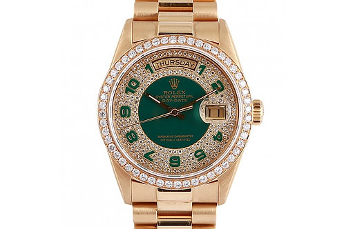 Rolex Day-Date President Green Diamond Dial 36mm Yellow Gold & Diamonds