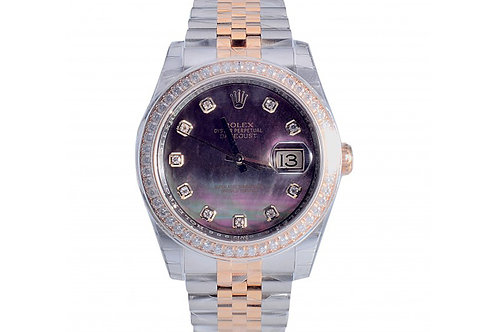 Rolex Datejust Black Mother of Pearl Diamond Dial 36mm, Steel & Yellow Gold