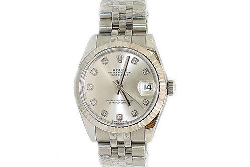 Rolex Datejust 31mm Silver Diamond Dial and White Gold Bezel
