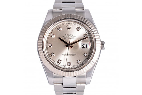 Rolex Datejust II Silver Diamond Dial 41mm Steel
