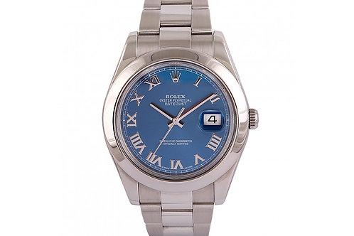 Rolex Datejust II Blue Roman Dial 41mm Steel