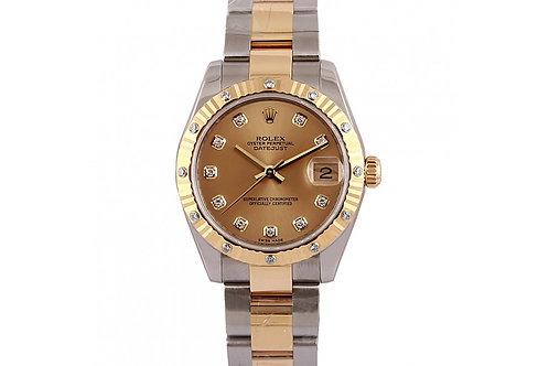 Rolex Datejust Champagne Diamond Dial 31mm Diamonds, Steel & Yellow Gold