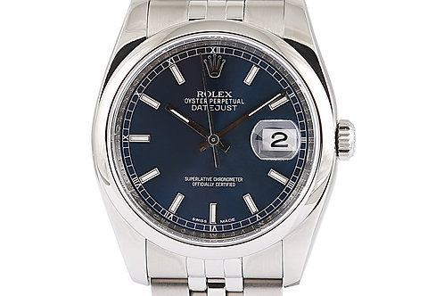 Rolex Datejust Jubilee Bracelet Blue Index Dial 36mm Steel