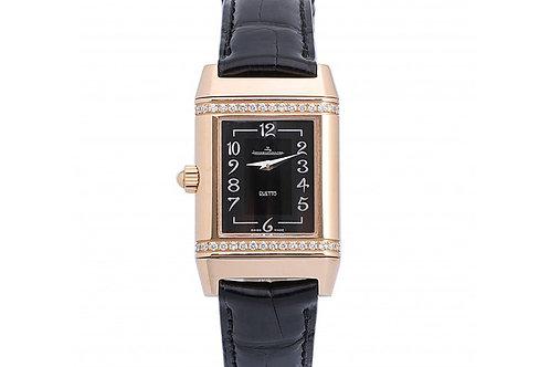 Jaeger-LeCoultre Reverso Duetto Classique Black Dial 24mm Rose Gold & Diamonds