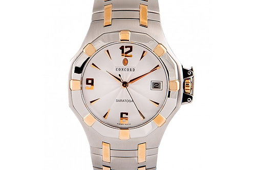 Concord Sartoga Silver Dial 37mm Steel & Rose Gold