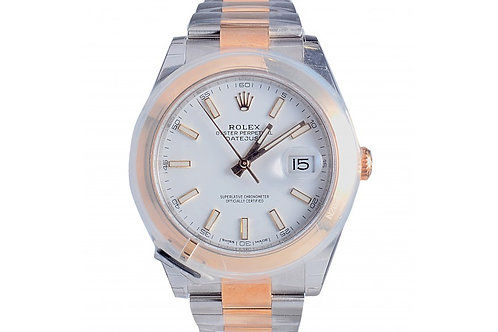 Rolex Datejust White Dial 41mm Steel & Yellow Gold