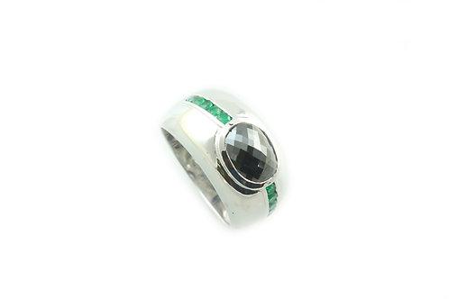 Emerald and Black Diamond Ring