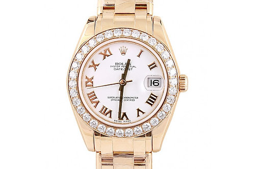 Rolex Pearlmaster White Roman Dial 34mm Yellow Gold
