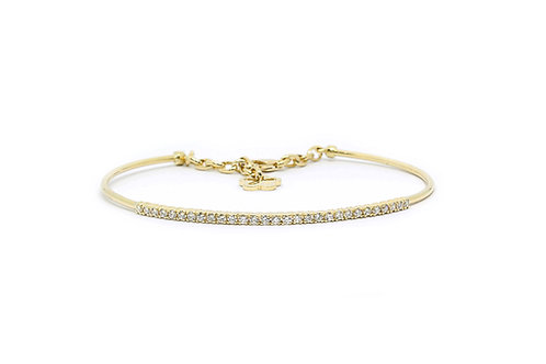 Chain Lock Diamond Bangle Yellow Gold