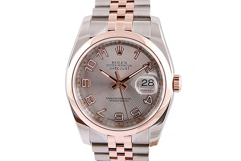 Rolex Datejust Silver Concentric Circle Dial 36mm Steel & Rose Gold