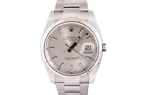 Rolex Datejust Silver Dial 34mm Steel & White Gold