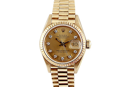 Rolex Datejust President Yellow Gold with Champagne Diamond Dial Lady 26mm
