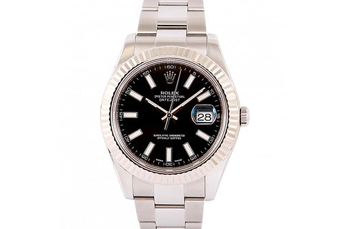 Rolex Datejust II Black Dial 41mm Steel & White Gold