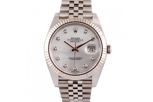 Rolex Datejust 41 Mother of Pearl Diamond Dial Steel & White Gold
