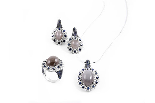 Moonstone Sapphire and Diamond Pendant Earring and Ring