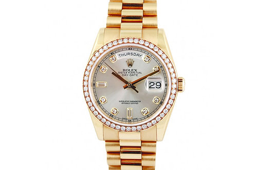 Rolex Day-Date Silver Diamond Dial 36mm Yellow Gold