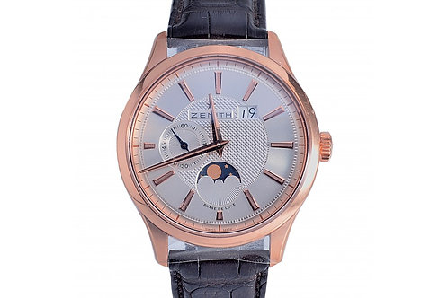 Zenith Captain Moonphase Silver Dial 40mm Rose Gold