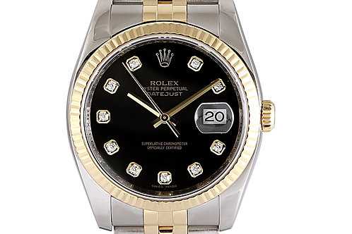 Rolex Datejust 36mm Steel & Yellow Gold Black Diamond Dial Jubilee Bracelet