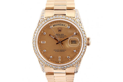 Rolex President Day-Date Champagne Diamond dial 36mm Yellow Gold