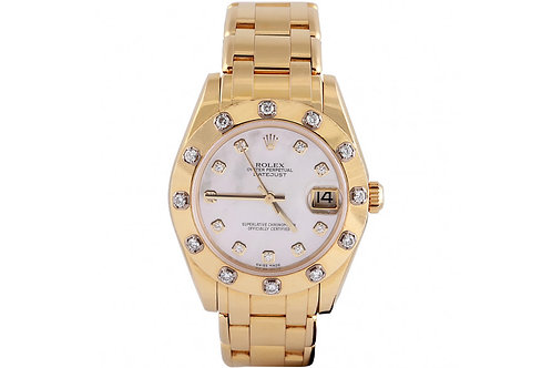 Rolex Pearlmaster Mother of Pearl 34mm Yellow Gold & Diamonds